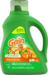Gain +AromaBoost Liquid Laundry Detergent, Island Fresh, 64 Loads 100 fl oz