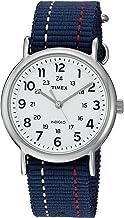 Timex Unisex TW2R107009J Weekender Blue Denim Red and White Stitching Slip-Thru Strap Watch