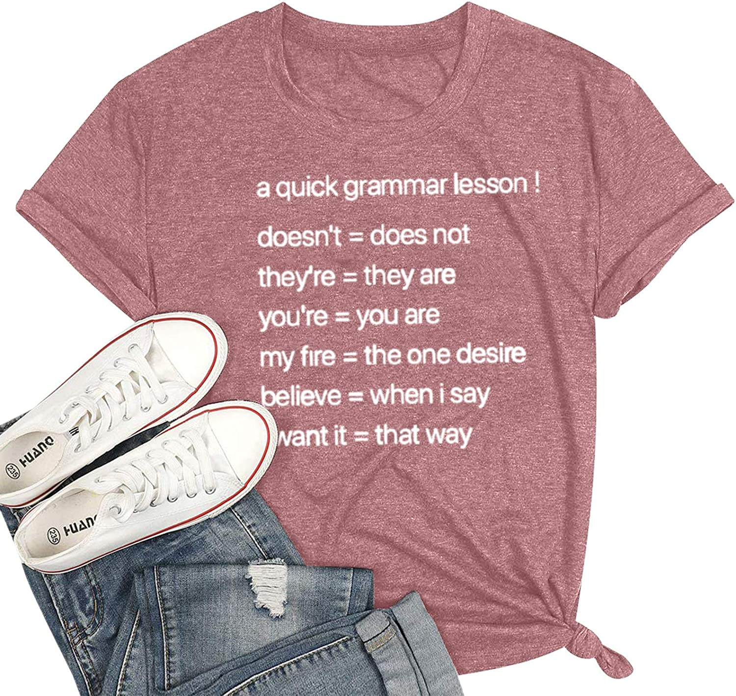 SSDXY Women's Short Sleeve Heart Letter Print Summer Casual Tops Tee T-Shirt Pattern Funny Crewneck Blouse for Girls