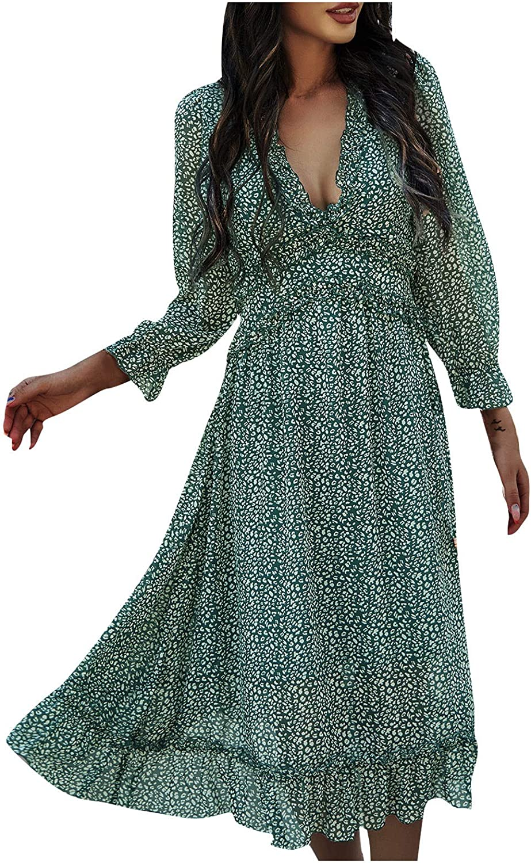 JPVDPA Women's Long Sleeve Flowy Swing Dress V-Neck Skirt Pleated Knee-Length Print Dress Cute Casual Dresses