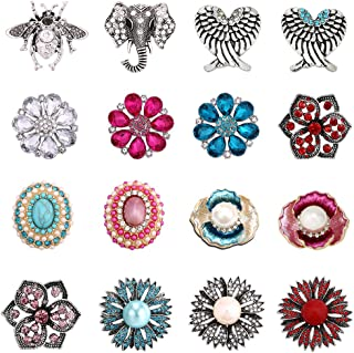 Soleebee Alloy Crystal Rhinestones 28-30mm Snap Buttons Jewelry Charms DIY Accessories (Pack of 16)