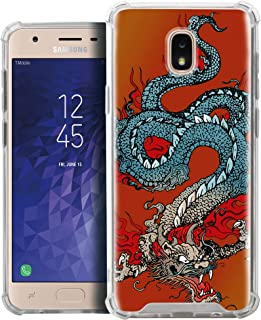 CasesOnDeck Fitted Case Compatible with [J7 (2018)/ J7 Refine/ J7 Eon/ J7 Star/ J7 Top/ J7 Aero/ J7 Crown/ J7 Aura] Full Body Clear Bumper Case Slim Fitted Unique Cover (Tattoo Dragon)