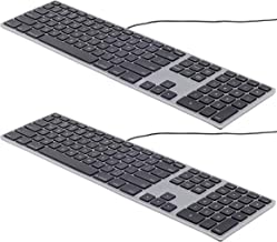 Matias FK318B USB Wired Aluminum Keyboard with Numeric Keypad and Built-in 2-Port Hi-Speed USB 2.0 Hub (2-Pack) - Compatible with Mac - Space Gray