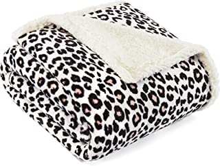 Betsey Johnson Leopard Sherpa, Throw, Black/White