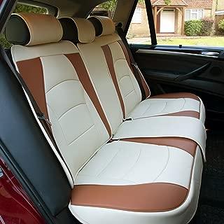 FH Group PU205013BEIGEBROWN Beige/Brown-Bench PU205BEIGEBROWN013 Ultra Comfort Leatherette Rear Seat Cushions