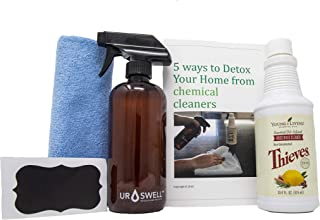 "Thieves Household Cleaner Glass Bottle Kit – includes: Young Living Thieves Cleaner 14.4 fl.oz, URSWELL GLASS Amber Spray Bottle 16oz PLUS Chalk Label, Microfiber cloth & ""Detox Your Home"" Book"