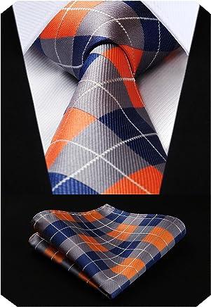 HISDERN Mens Lovely Tie Set Formal Silk Tie + Handkerchief Woven Classic Stripe Men's Necktie & Pocket Square Set