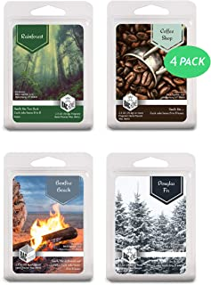 4 Pack - Pacific Northwest Collection Soy Blend Scented Wax Melts Wax Cubes, 10.0 oz, [24 Cubes] with Coffee Shop, Rainforest, Bonfire Beach and Douglas Fir