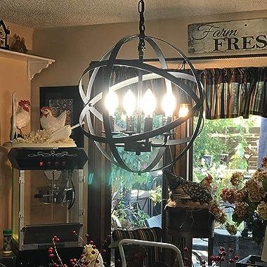 "Lika 4-Light Chandelier 15.7"" Farmhouse Rustic Industrial Pendant Lighting with Metal Spherical Shade Black Chandeliers f"