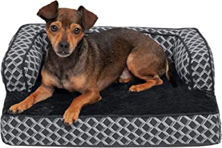 Furhaven Pet Dog Bed - Orthopedic Plush Faux Fur and Décor Comfy Couch Traditional Sofa-Style Living Room Couch Pet Bed wi...