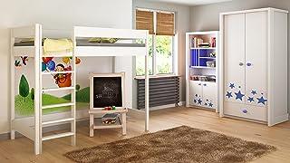 Children's Beds Home Lits Surélevés pour Enfants Enfants Juniors sans Matelas Inclus (200x90, Blanc)