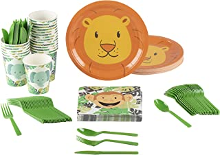 Animal Party Supplies - Serves 24 - Includes Plates, Knives, Spoons, Forks, Cups and Napkins. Perfect Party Pack for Kids Themed Birhtday Parties and Baby Showers, Zoo Animal Pattern