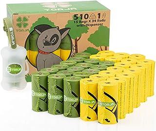 YORJA Biologisch Afbreekbare Hondenpoepzakjes, 510 stuks met Dispenser, Extra Dik en Sterk 100% Lekvrij