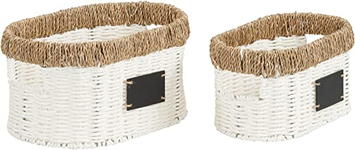 Household Essentials Natural Rim Oval Set Paper Rope and Seagrass (2 Piece) Small Wicker Basket, White
