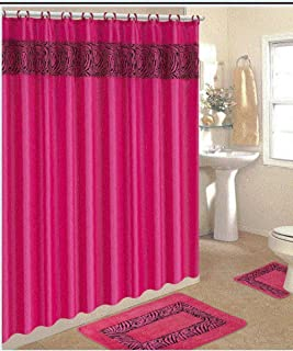 WPM/AHF 4 Piece Bath Rug Set/ 3 Piece Pink Zebra Bathroom Rugs with Fabric Shower Curtain and Matching Rings