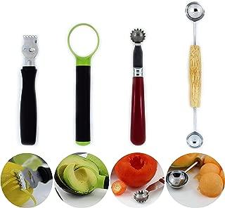 Lemon zester tool - Strawberry corer - Tomato core remover - Melon baller scoop - Avocado slicer pitter