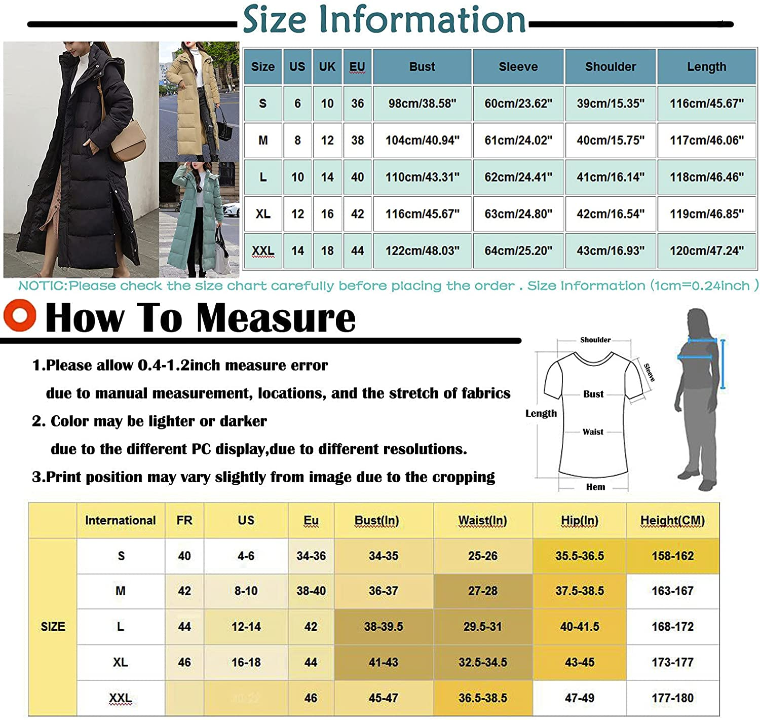 Hooded Down Peacoat Women's Winter Long Down Cotton Parka Coat Ladies Warm Quilted Outwear