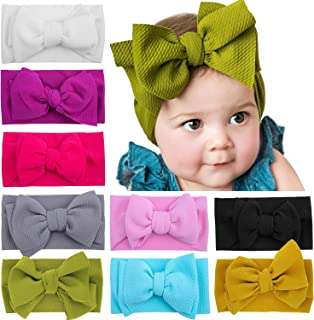 Baby Girls Headbands with Bows, Soft Stretchy Nylon Hair Accessories Stuff for Newborn Toddler Infant Kid Child