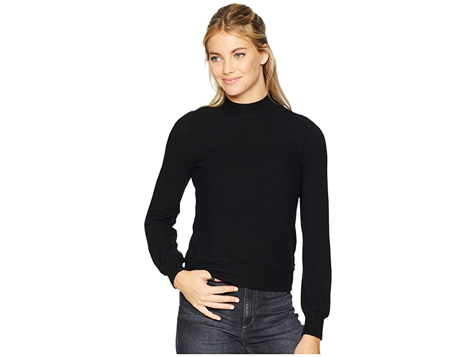 Three Dots Puff Sleeve Crop Top (Black) Women