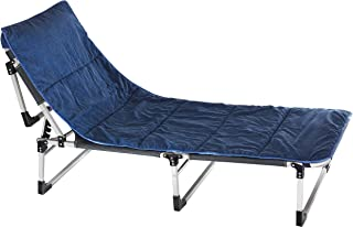 ELTOW Folding Cot with Soft Cotton Mattress - Reclining Beach and Pool Lounger with Oxford Cloth, Steel Frame - Outdoor Chaise Chair Bed for Patio, Garden - Carrying Bag & Comfortable Pillow Included