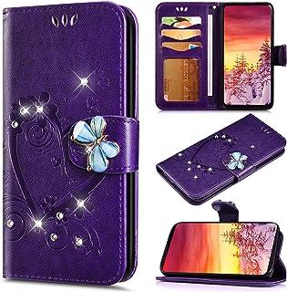 Saceebe Compatibile con iPhone 6 plus//6S plus Custodia Pelle Portafoglio Glitter Cover a libro Flip Case Anteriore e posteriore Cover,argento Custodia in pelle glitter diamante farfalla