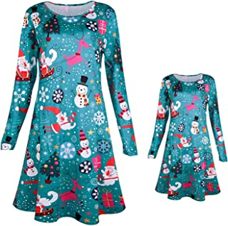 docotor akio Mommy and Me Christmas Dress Family Matching Santa Claus Christmas Tree Snowman Print Long Sleeve Mini Dress