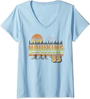 Femme Netflix Stranger Things Hawkins Strange Things 85 Retro T-Shirt avec Col en V