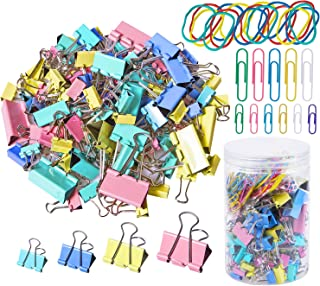 120Pcs Binder Clips Paper Clamps Assorted 4 Sizes with 75Pcs Paper Clips and 25Pcs Rubber Bands, Paper Binder Clips Metal Fold Back Clips with Box for Office, School and Home Supplies, Multicolor