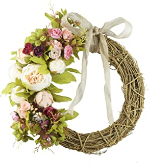 Forevercute 15.75 Inch Peony Wreath,Spring Door Wreath,Crescent Shaped Indoor Wreath,Rattan Wreath for Front Door
