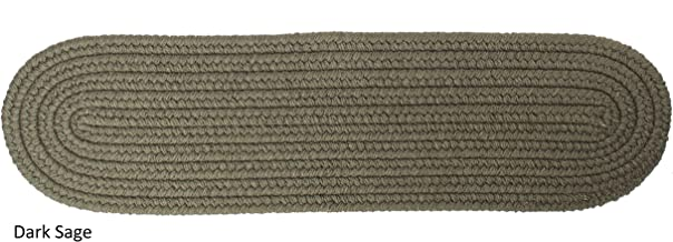 """product image for Rhody Rug Woolux Wool Braided Reversible Stair Treads (Set of 4) - 8"""" x 28"""" Oval Sage"""