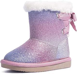 کفش های برفی براق زنانه KRABOR کفش پنبه ای آستر پنبه ای کفش گرم بدون لغزش زمستانی با کمان ناز برای کودکان نوپا / بچه کوچک