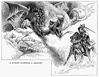 Knight And Dragon Na Knight Errant Fighting A Dragon Wood Engraving 19Th Century Poster Print by (24 x 36)