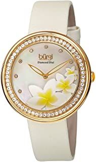 Stylish Floral Print Women's Watch - On Genuine Leather Strap with Roman Numerals - BUR186
