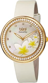 Burgi Women's White Leather Band Watch - BUR116WT