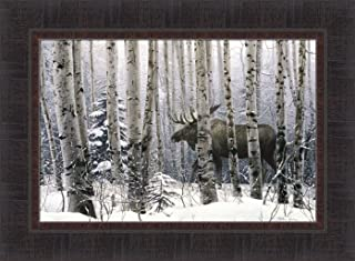 Home Cabin Décor A Walk In The Woods by Stephen Lyman 17x23 Moose Trees Snow Winter Framed Art Print Picture