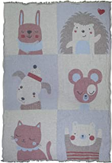 Kid's Linen Throw Blanket 100% Pure Flax/Cotton, Double - Layered Jacquard (Gray/Blue/Maroon)