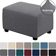 H.VERSAILTEX Ottoman Slipcovers Rectangle Gray Footrest Sofa Slipcovers Footstool Protector Covers Stretch Fabric Storage Ottoman Covers, High Spandex Slipcover Machine Washable, Ottoman Large Size