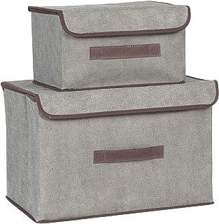 EACHPT boîte de rangement pliable 2 pièces boîtes de rangement avec couvercle et poignée caisse de rangement en tissu bac ...