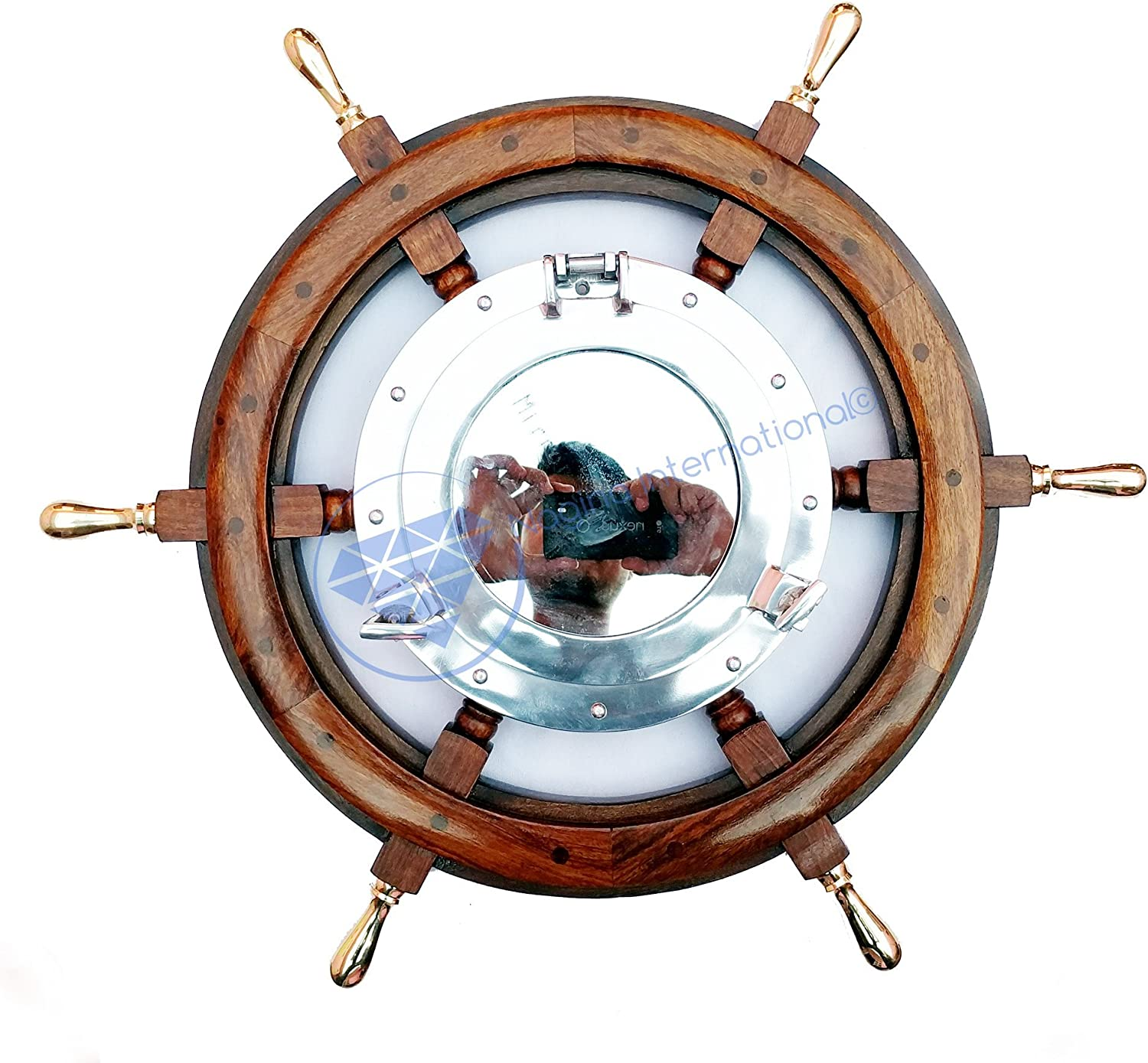 24  Nautical Wooden Ship Wheel with Brass Handles & 10  Aluminum Porthole Mirror   Pirate's Boat Decor   Nagina International