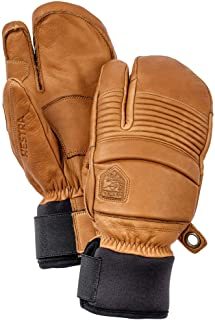 Hestra Leather Fall Line - Short Freeride 3-Finger Snow Glove with Superior Grip for Skiing and Mountaineering