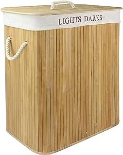 Ljus & mörk bambuspärr   102L fällbar tvättpåse   Avtagbart och tvättbart tygfoder   Tvättförvaringskorg   Fällbar tvättko...