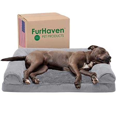 Furhaven Pet - Plush Orthopedic Sofa Dog Bed, Mid-Century Dog Bed Frame, Trail Pup Foldable Travel Bed with Stuff Sack, and More for Dogs and Cats - Multiple Colors, Sizes, and Styles