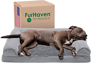 Furhaven Pet Dog Bed - Orthopedic Ultra Plush Faux Fur and Suede Traditional Sofa-Style Living Room Couch Pet Bed with Rem...