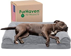 Furhaven Pet - Plush Orthopedic Sofa, L-Shaped Chaise Couch, Calming Donut Dog Bed, Packable Travel Dog Bed with Stuff Sac...