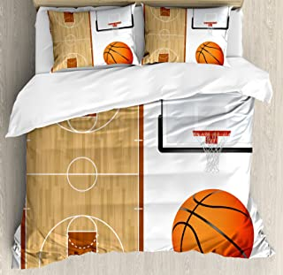 Lunarable Sports Duvet Cover Set, Basketball Court Backboard Illustration Realistic Sports Themed, Decorative 3 Piece Bedding Set with 2 Pillow Shams, Queen Size, Brown Orange