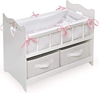 White Rose Doll Crib with Bedding, 2 Baskets, and Free Personalization Kit (fits American Girl Dolls)