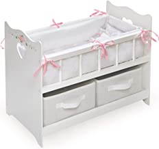 White Rose Doll Crib with Bedding, 2 Baskets, and Free Personalization Kit (fits American..
