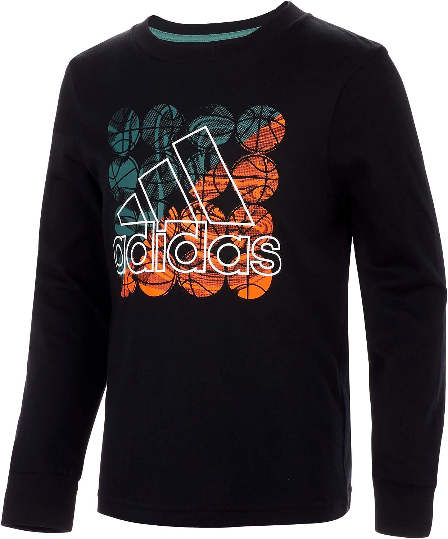 adidas Boys' Long Sleeve Cotton Jersey Logo T-Shirt