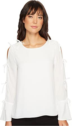 CeCe - Long Sleeve Lightweight Crepe Blouse w/ Bow Detail