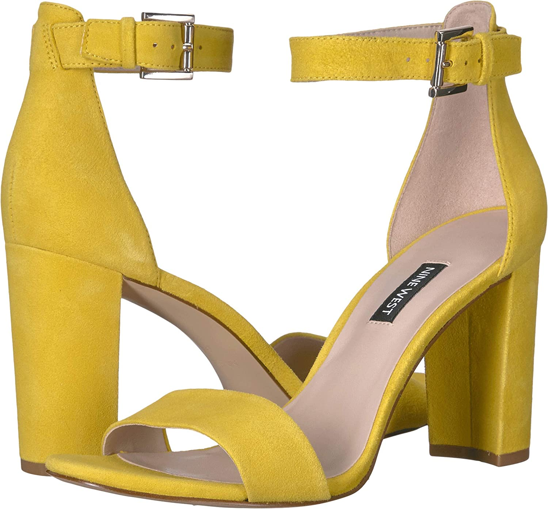 Nine West Womens Nora Block Heeled Sandal Citrine Yellow 7.5 M